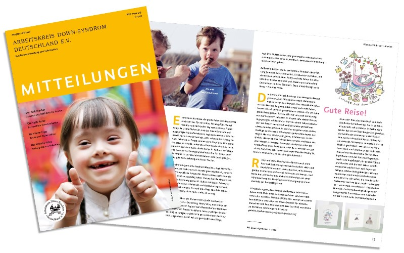 Titelseite und Ausschnitt aus dem Magazin des Arbeitskreis Down-Syndrom _ Ausgabe 2_2020